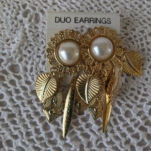 Gold Tone Duo Flower Dangle Pierced Earrings